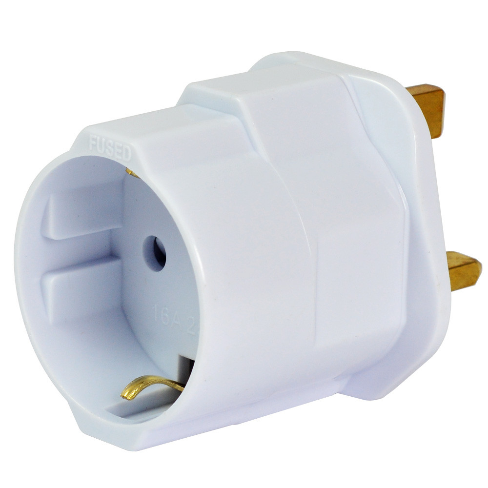 MENGS® EU To GB Earthed Travelling Plug Adapter With 13A Fuse And 16A / 250V Max Load - White