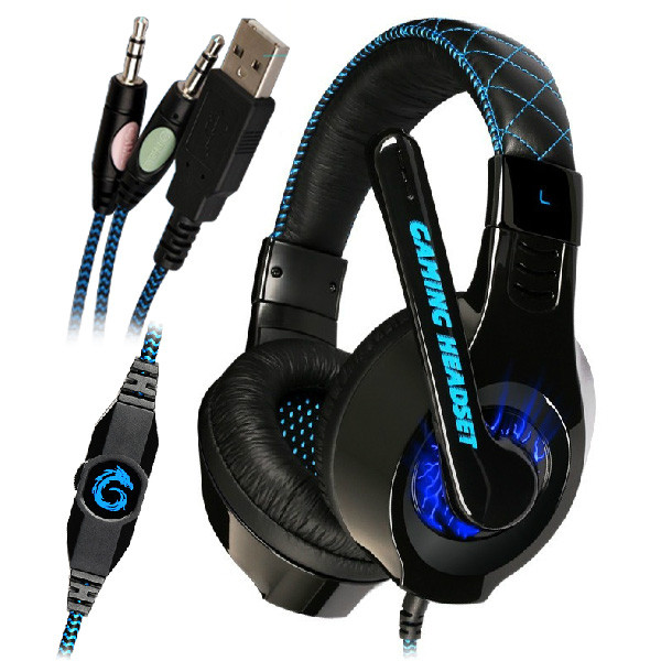 SOMIC® G95 stereo sound gaming headset 3.5mm plug + USB wired controller-in with adjustable 160 degree mic built-in blue LED lights