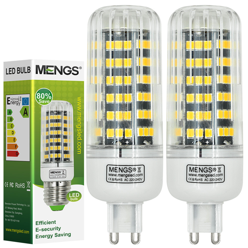 MENGS® 2Pcs G9 12W LED Corn Light 123x 2835 SMD LED Bulb Lamp in Warm White Energy-Saving Light