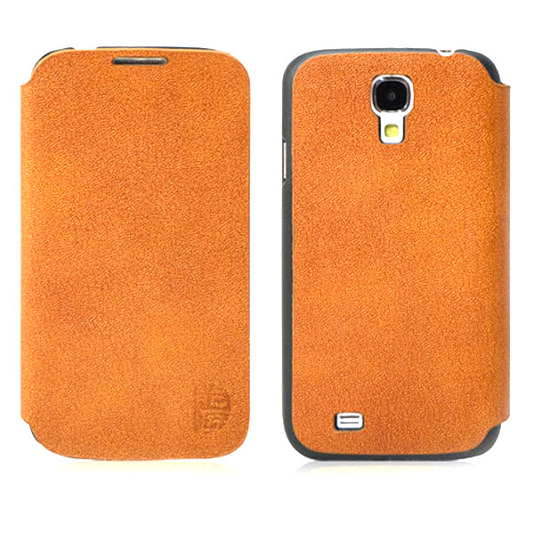 MENGS® Slim Professional Genuine Leather Case Cover for Samsung Galaxy S4 i9500 Screen Protector-Brown