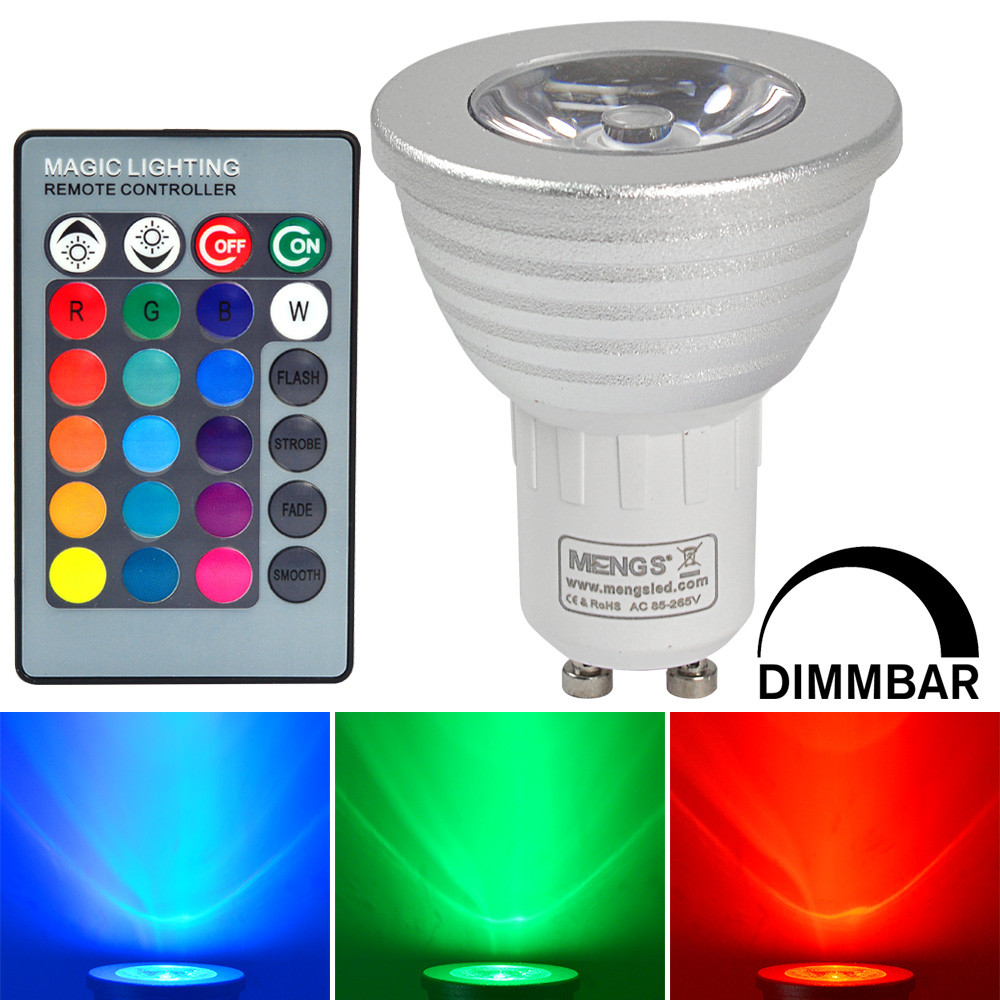MENGS® GU10 3W LED RGB Light 16 Colour changing SMD LEDs LED Spotlight lamp Bulb with IR Remote Control - multicolor Dimmable