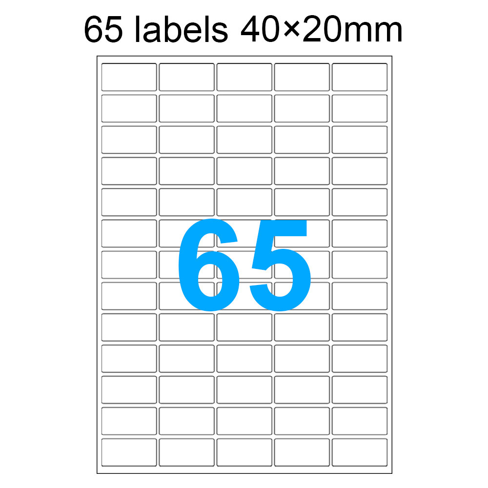 MENGS® 100X 65 Labels 40 x 20mm A4 Adhesive Labels Stickers 297 x 210mm For Laser Printers Inkjet Printers