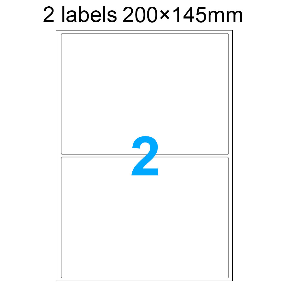 MENGS® 100X 2 Labels 200 x 145mm A4 Adhesive Labels Stickers 297 x 210mm With Paper + Glue For Laser Printers Inkjet Printers