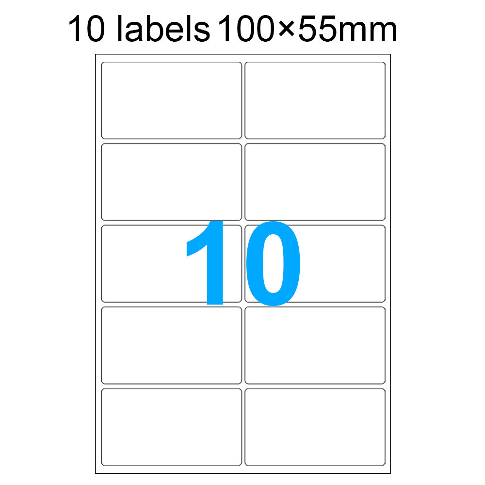 MENGS® 100X 10 Labels 100 x 55mm A4 Adhesive Labels Stickers 297 x 210mm With Paper + Glue For Laser Printers Inkjet Printers