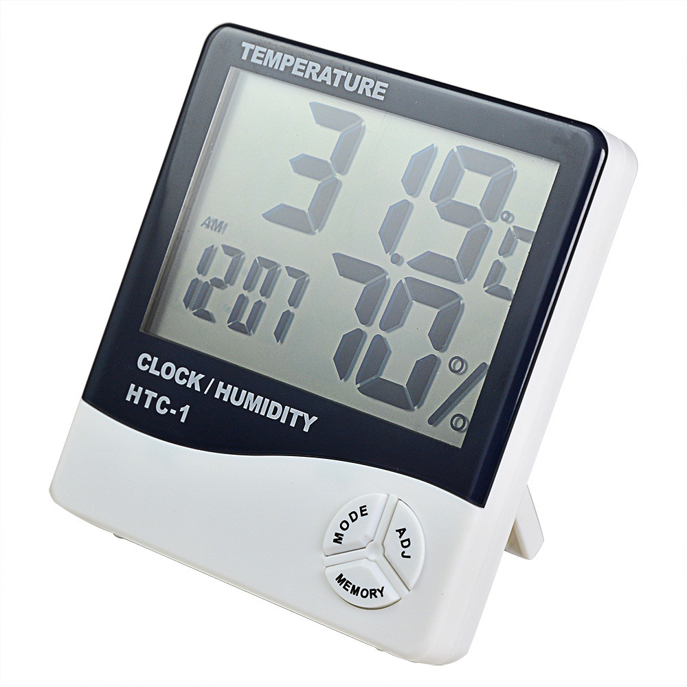 MENGS® HTC-1 Digital LCD Temp Humidity Meter All-In One Temperature, Humidity And Clock