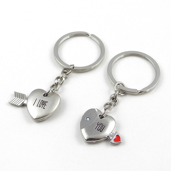 MENGS® Fashion Magnetic Cupid Arrow I LOVE YOU Lovers Gift Keychain -Sliver