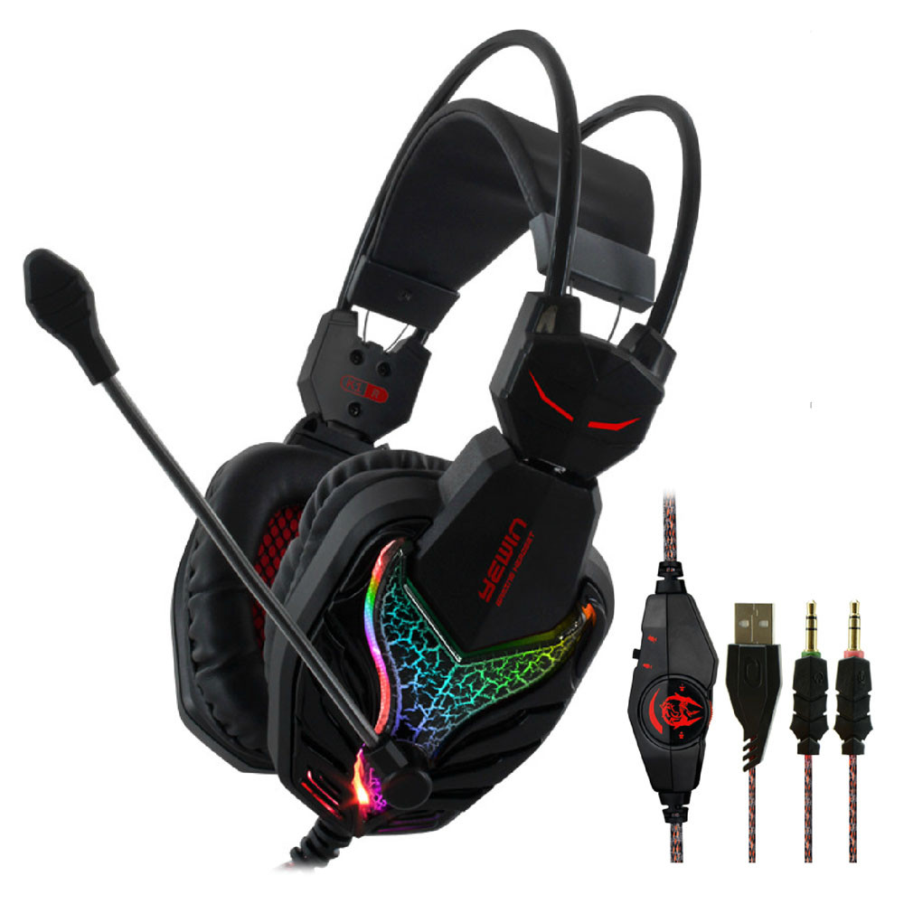 CANLEEN® K1 Stereo Gaming Headphone USB & 3.5mm Plug Wired Headset With Microphone for PC Laptop