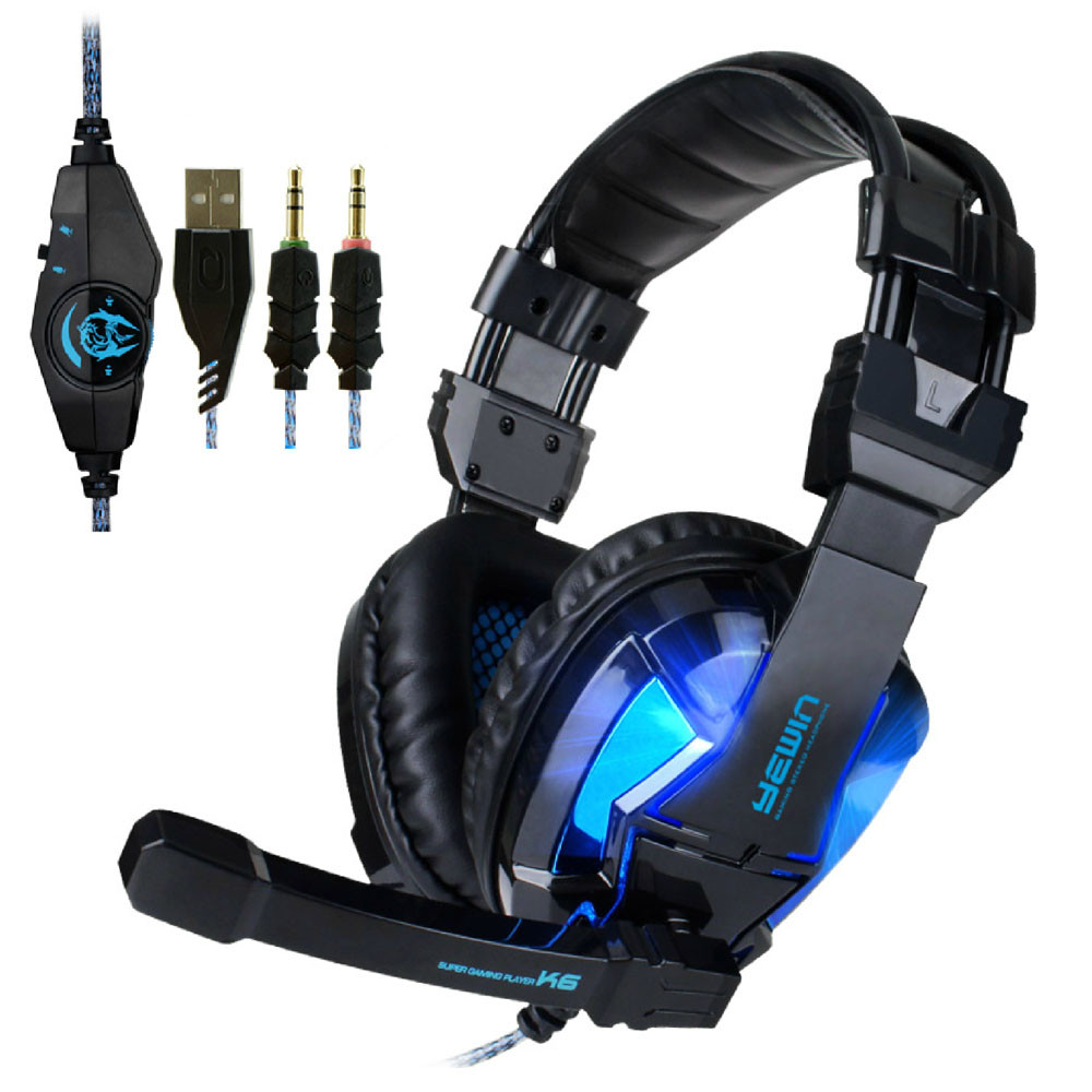 CANLEEN® K6 Stereo Gaming Wired Mic Headset With USB + 3.5mm Plug Headphone For Gaming, Music, Film, Chat Etc