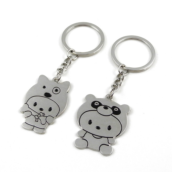 MENGS® 2 Pcs Bear Shaped  Stainless Steel  Keyring for Lovers -Sliver