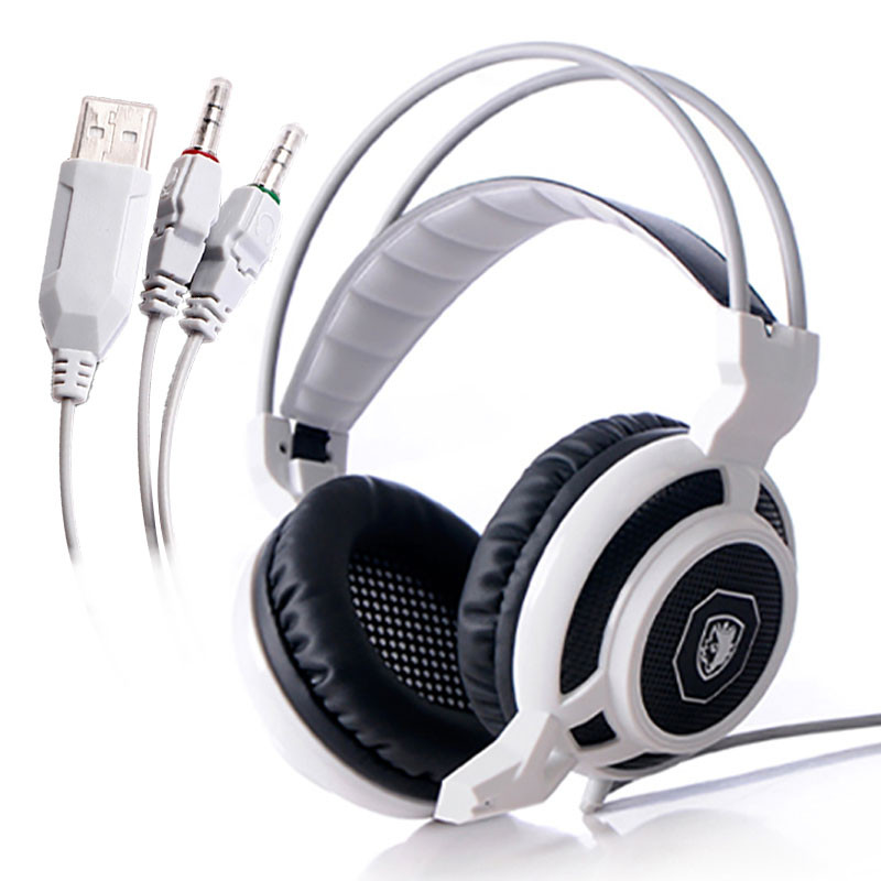 SADES® Magic Feather 3.5mm Plug + USB Wired Gaming Headset With Microphone For PC Notebook Laptop