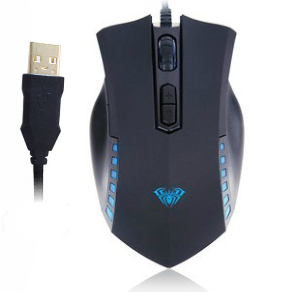 AULA® 7D Manum Gaming Athletics Wired Gilded USB Mouse Up to Resolution 2000 DPI with Four - gear Adjustable DPI