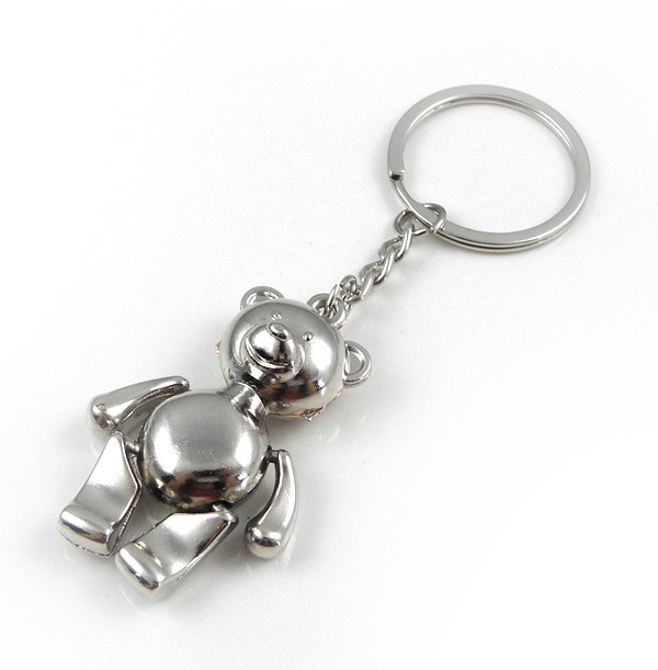 MENGS® Fashion Cute Stainless Steel Pooh Bear Keychain - Silver
