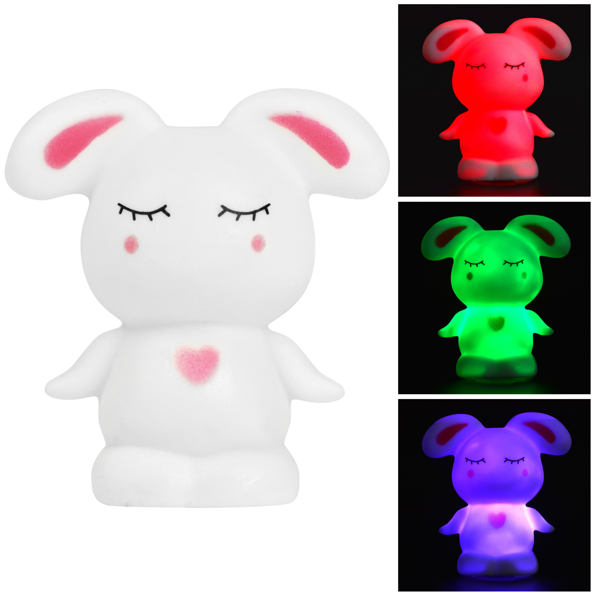 MENGS® Rascal Rabbit 7-Color Changing Night Light - Kids Baby Children Bedroom, Nursery, Party Decor LED Colourful Lamp