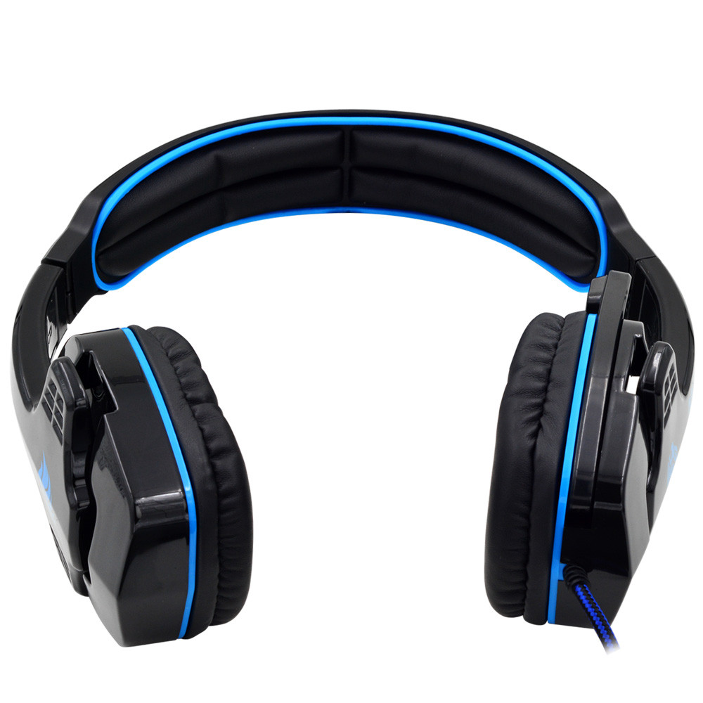 Sa 708 Gaming Headset With Microphone 35mm Stereo Headband Pc Sades Headphone Sound Blue Mengs Notebook Laptop
