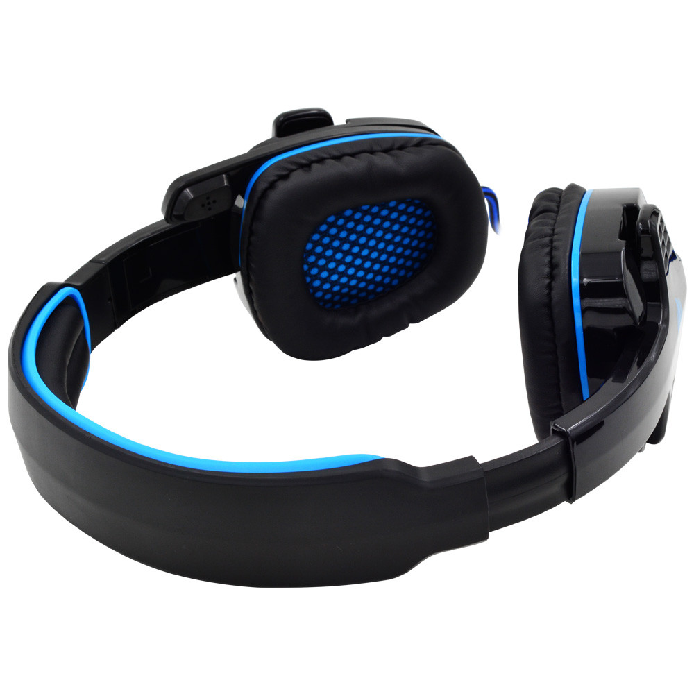 Sa 708 Gaming Headset With Microphone 35mm Stereo Headband Pc Sades Headphone Sound Blue Notebook Laptop Led Lights Photography Accessories