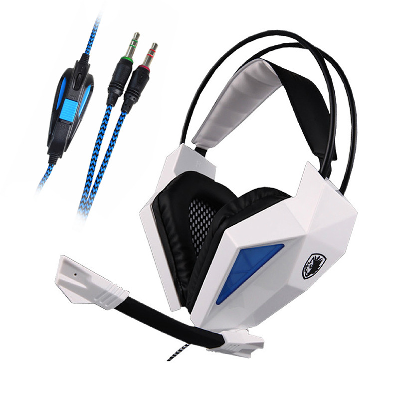 SADES® SA-709 3.5mm Stereo Headband Gaming Headset with Microphone for PC Notebook Laptop - White