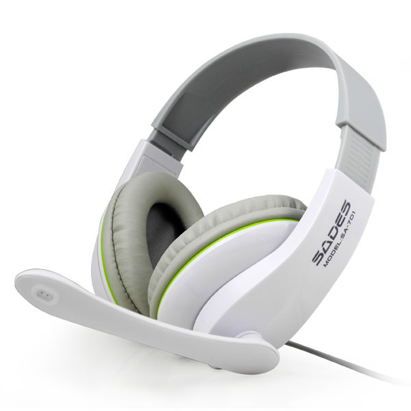MENGS® SA-701 Stereo Headset Gaming PC Laptop Headband Headphone w/ Microphone White