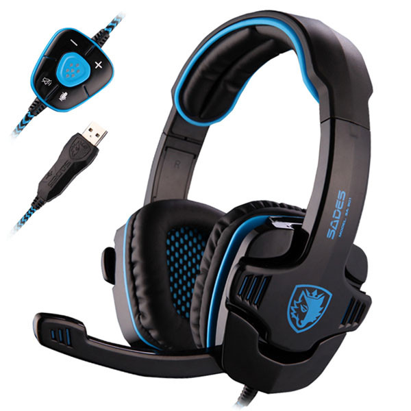 MENGS® SA-901 USB 7.1CH Headband Gaming Headset with Microphone built-in Audio Card Chipset Wired Headphone for PC Laptop Blue