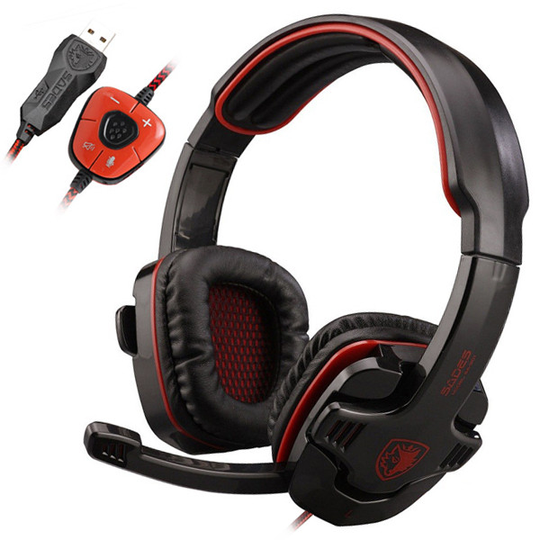 MENGS® SA-901 USB 7.1CH Headband Gaming Headset with Microphone built-in Audio Card Chipset Wired Headphone for PC Laptop Red