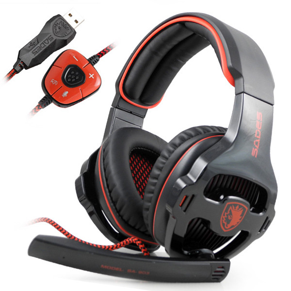 MENGS® SA-903 7.1 Surround Sound USB Gaming Headset Microphone Bass & Trebles Headphone