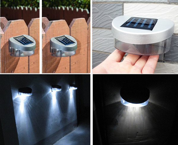MENGS® Outdoor Solar Powered Fence Wall Garden LED Light in Warm White