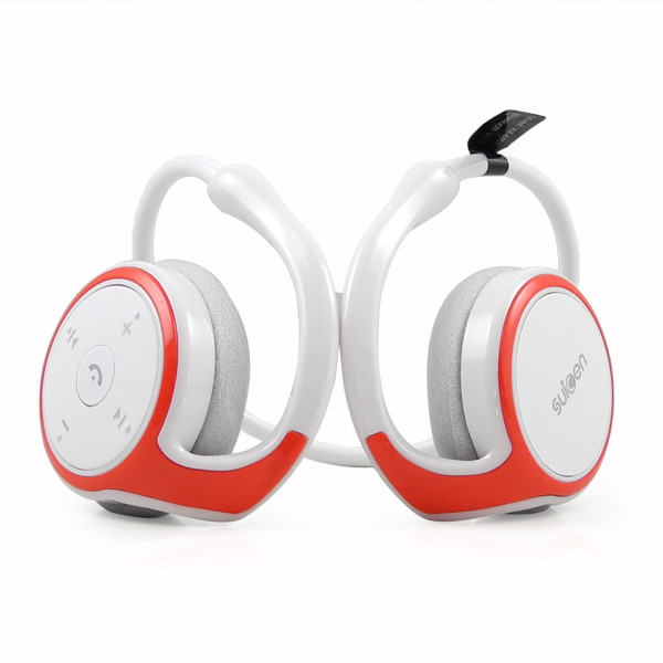 MENGS® Bluetooth Wireless Stereo Headset Handsfree for iPhone Samsung HTC - White & Red