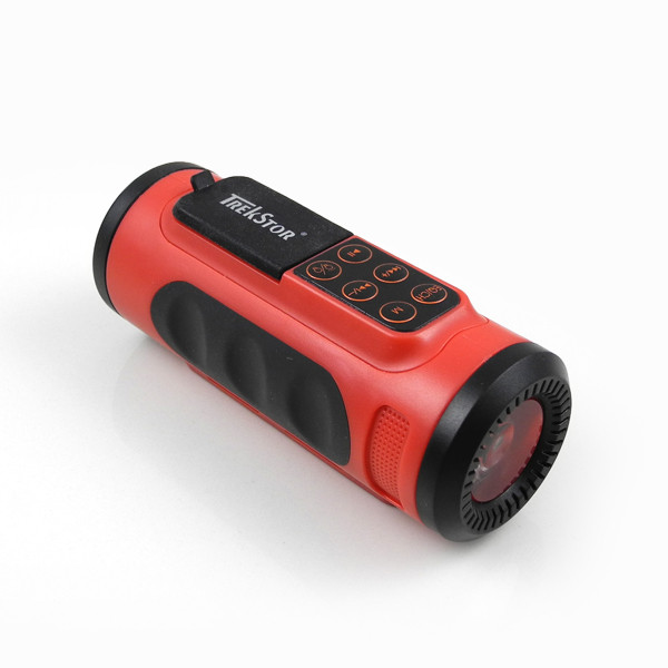 MENGS® Multi-Function Bicycle Bike LED Flashlight Torch MP3 Player - Red