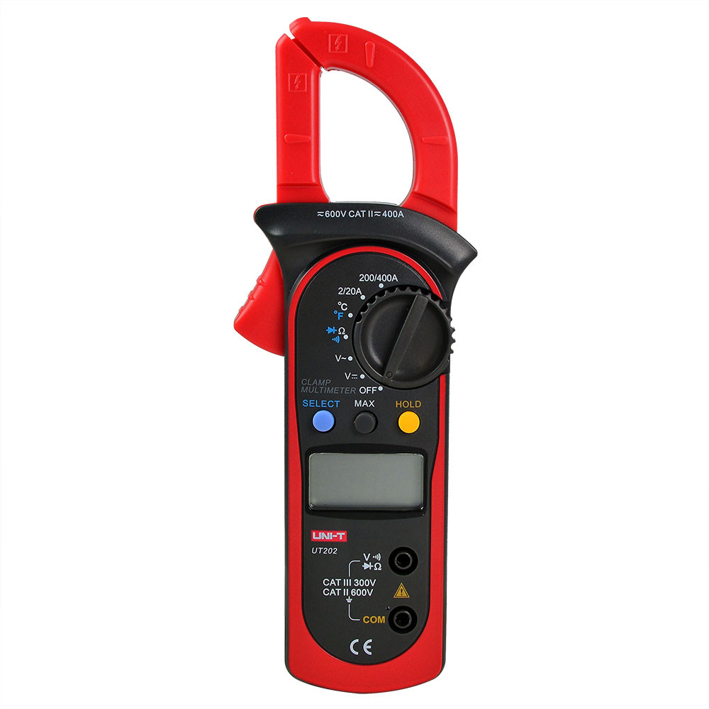 MENGS® UT202 LCD Digital Auto Range Clamp Multimeter DMM Which Can Measure AC/DC Voltage, AC Current, And Resistance With Data Hold And Auto Ranging Function