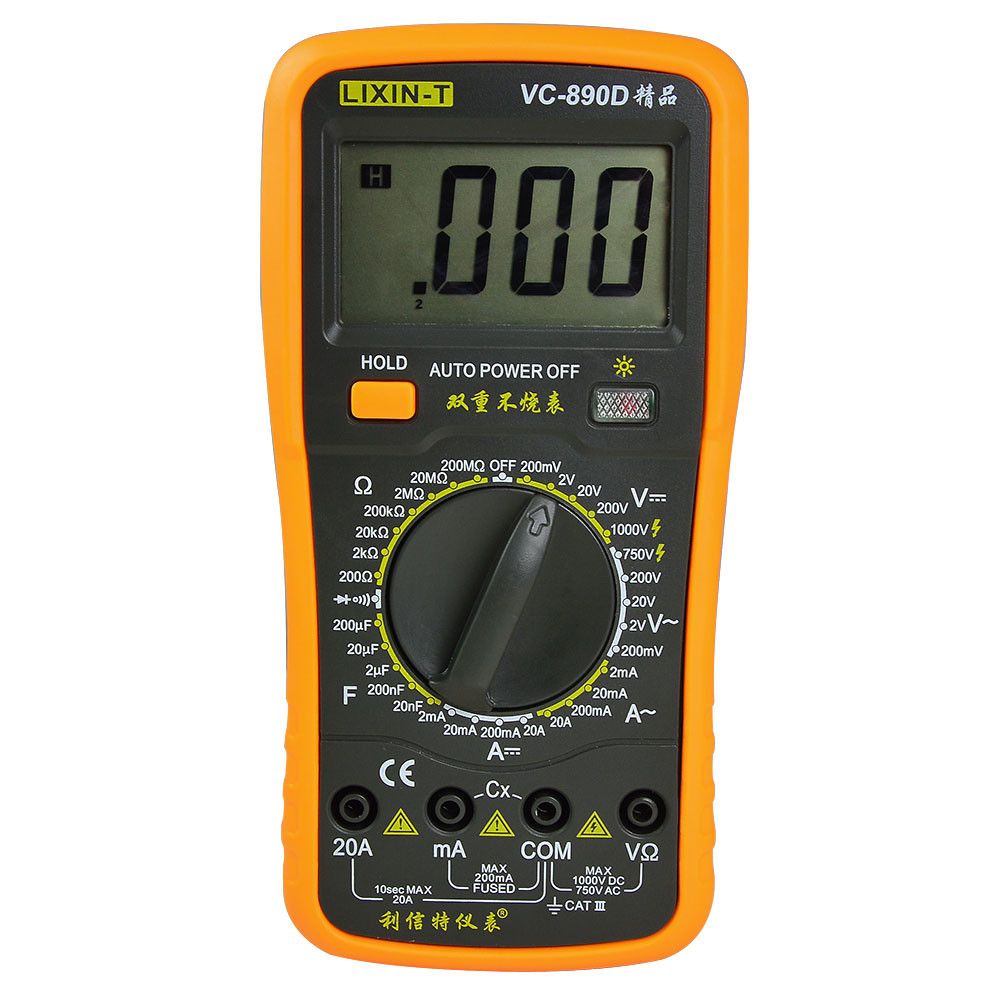 MENGS® VC-890D AC/DC Handhold LCD Display DMM Digital Multimeter with Test Lead and Data Hold Function Auto Power off Multimetro