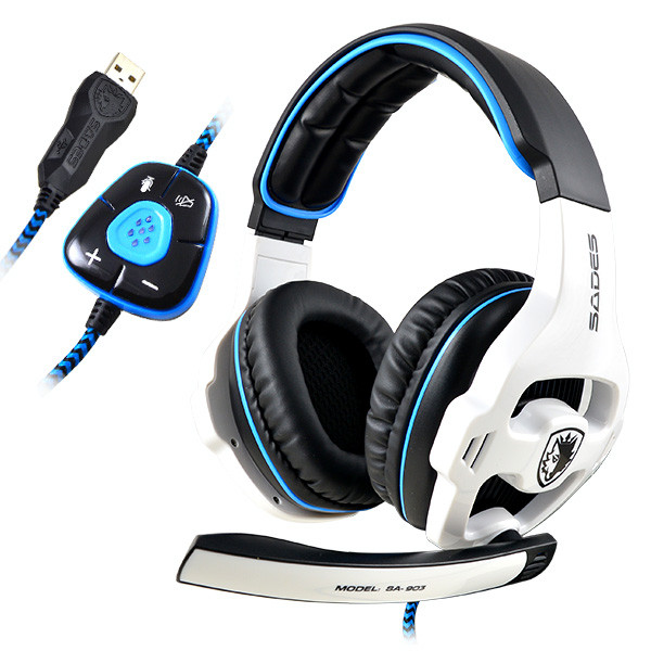 SADES® SA-903 USB 7.1CH Headband Gaming Headset W/MIC built-in Audio Card Chipset Bass & trebles Wired Game Headphone for PC Laptop - White