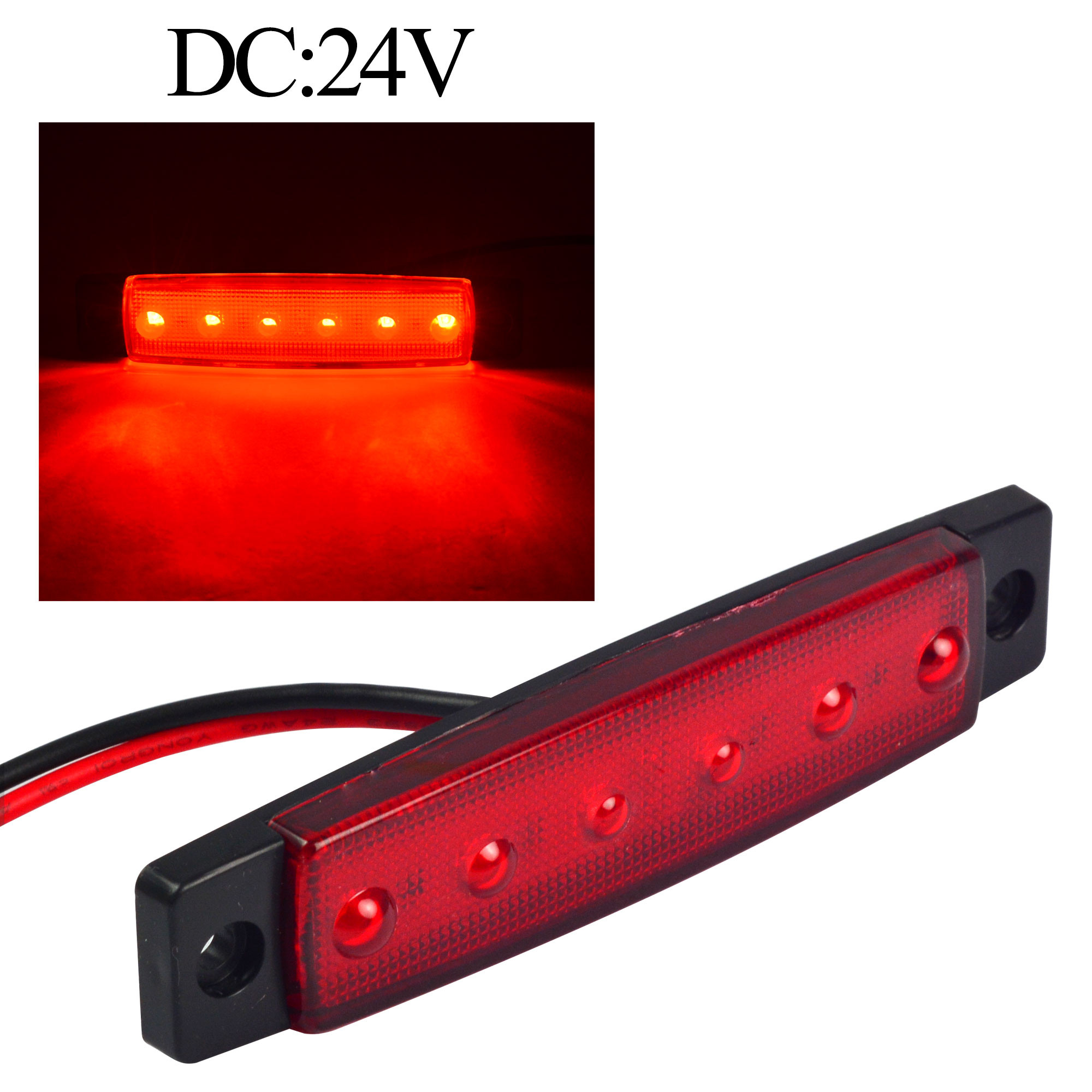 MENGS® 1Pair 0.5W Waterproof LED Side Marker Light 6x 2835 SMD for most Buses, trucks, trailers DC 24V - Red