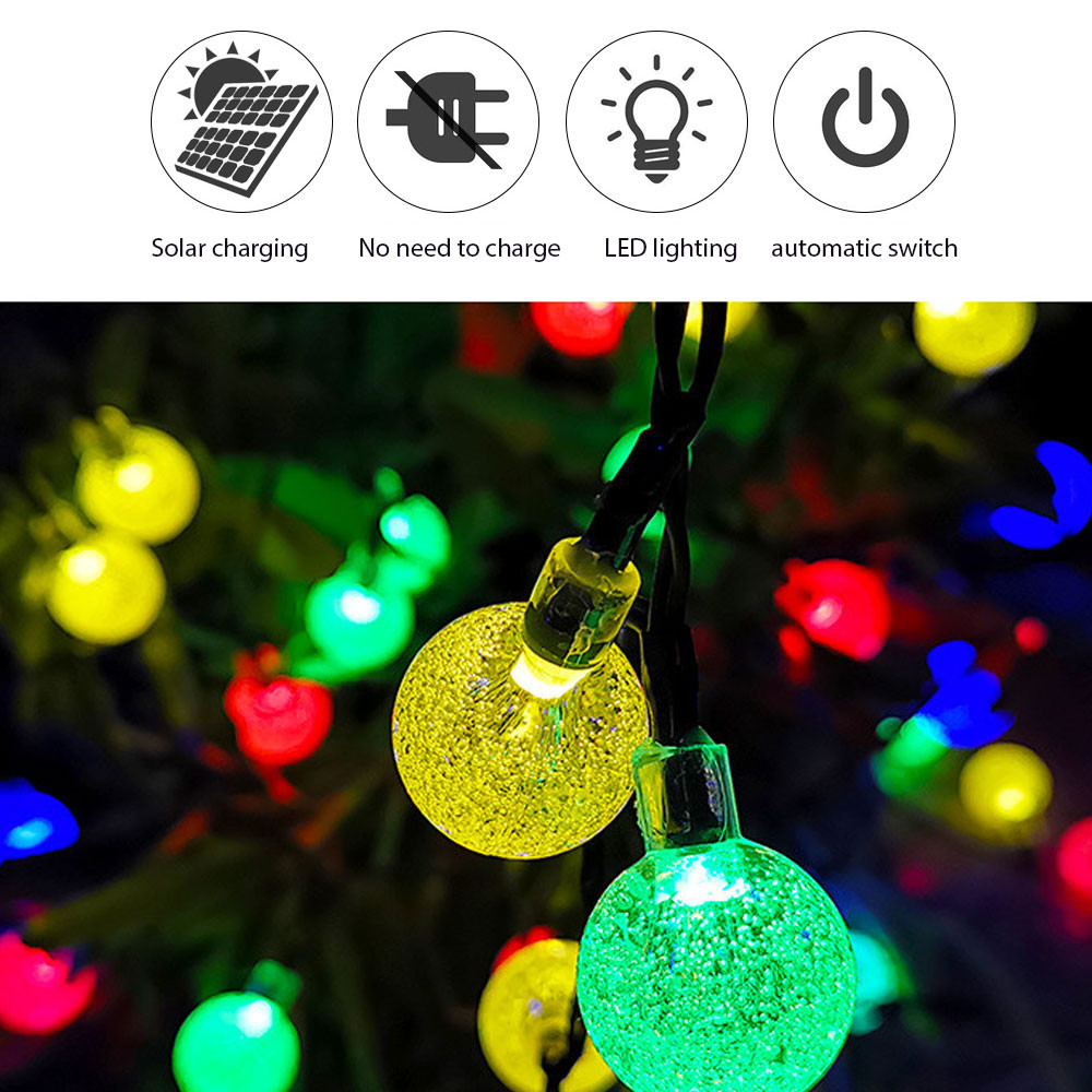 MENGS® Solar String Tree Lights, 39ft 12m 60 Multicoloured LED Crystal Ball Fairy Lights Outdoor Waterproof Solar Powered 8 Modes Lights for Garden Yard Home Party Wedding Decoration, RGBW