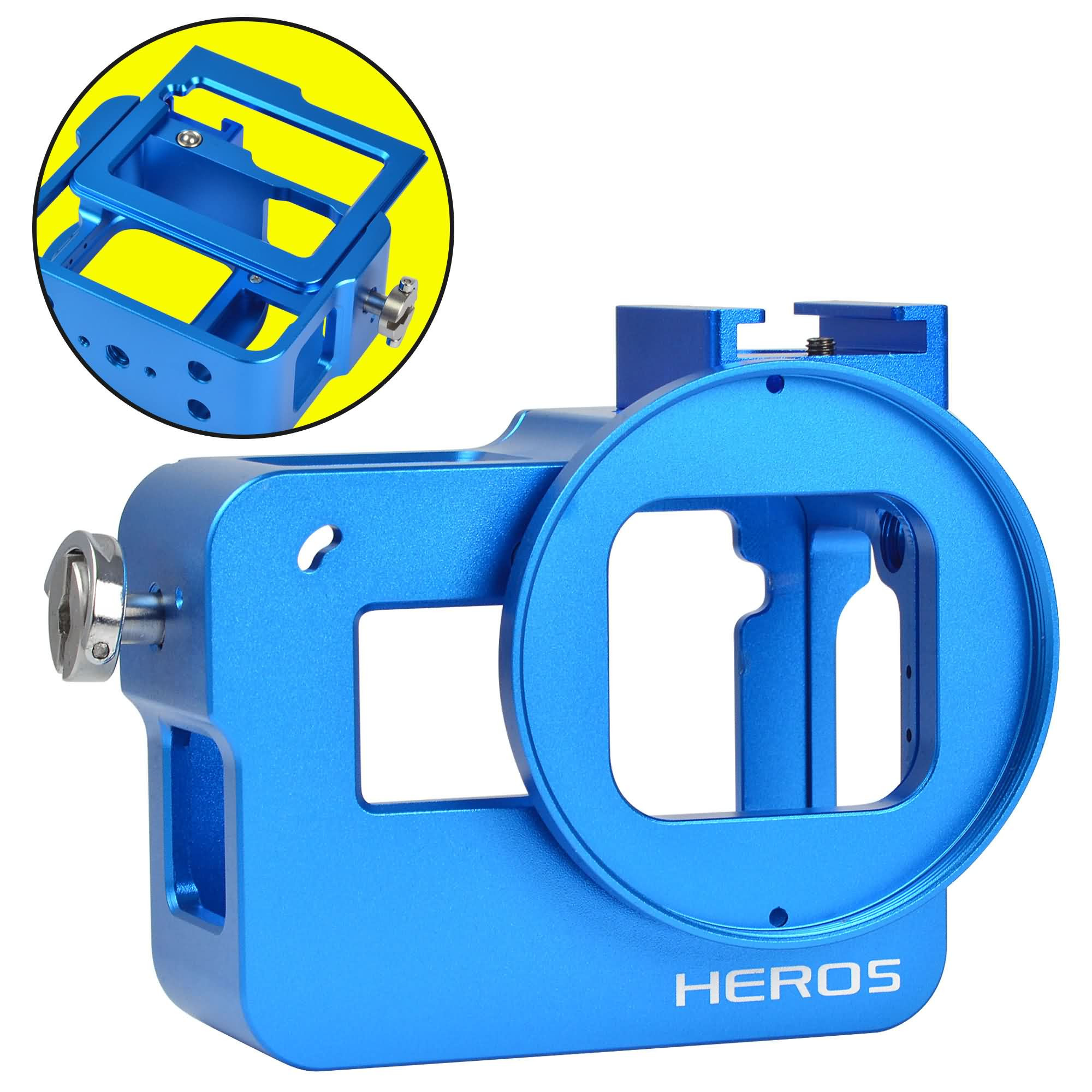 MENGS® GP-064 Aluminium Alloy Protective Frame Housing Case With Back Cover + 52mm UV filter and Lens Cap For Gopro Hero 5 - Blue